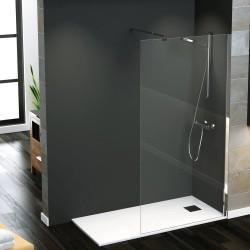 pannello doccia Walk-In con anta fissa profilo cromato h.195 cm spessore 8 mm