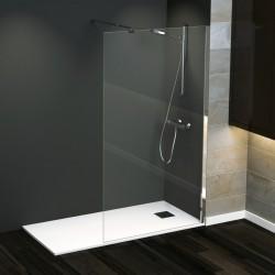 Pannello doccia Walk In Demetra Cromato 195 cm cristallo temperato 8 mm