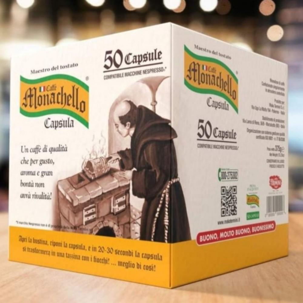 50 capsule compatibile macchine nespresso caffè monachello