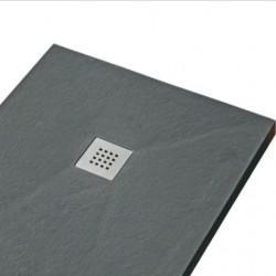 piatto doccia grafite con griglia quadrata di scarico inclusa