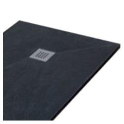 piatto doccia nero con griglia quadrata di scarico inclusa