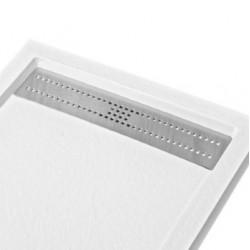 piatto doccia bianco in resina con griglia rettangolare in acciaio inox