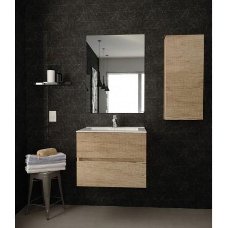 Mobile Bagno Sospeso Colore Rovere con specchio 60 cm
