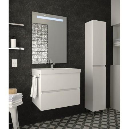 Mobile bagno sospeso moderno con lavabo in resina 60 cm bianco