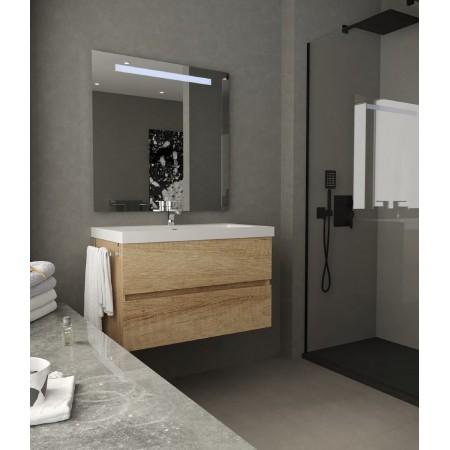 Mobile bagno sospeso 80 cm Rovere con lavabo e specchio