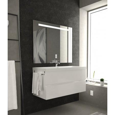 Mobile arredo bagno 100 cm sospeso moderno bianco lucido