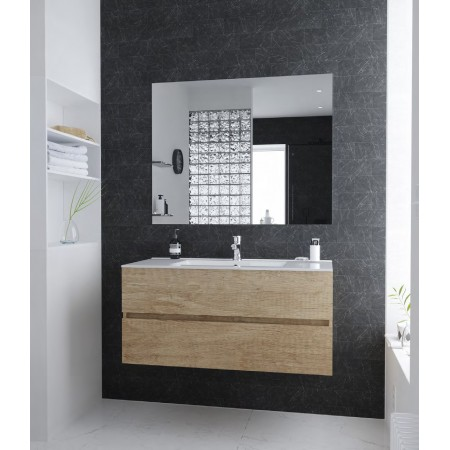 Composizione mobile arredo per bagno 100 cm sospeso moderno rovere