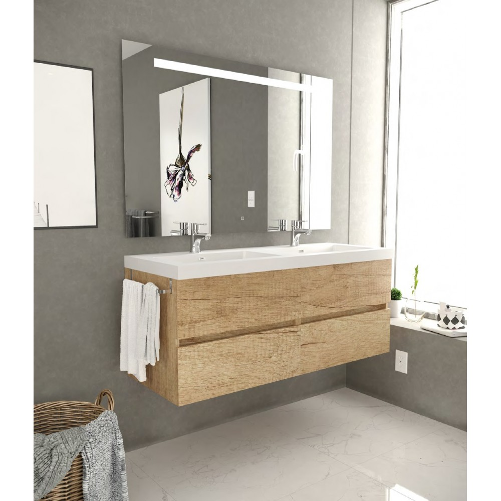 composizione completa 120 cm di due mobili da bagno con specchio led